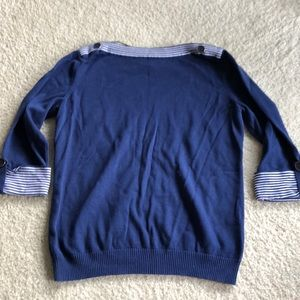 Navy blue boat-neck sweater